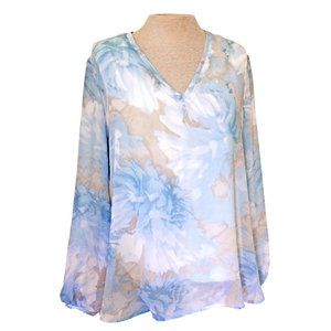 Joan Vass Blue Floral Chiffon Popover Blouse L